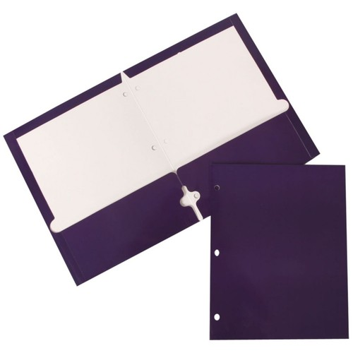 JAM Paper Glossy 2 Pocket 3 Hole Punched Folders, Purple, 6/pack (385GHPPUA)