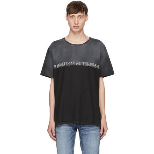 SAINT LAURENT Grey 'Love Me Forever Or Never' T-Shirt