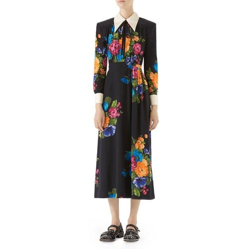 GUCCI Long-Sleeve Printed Silk Dress