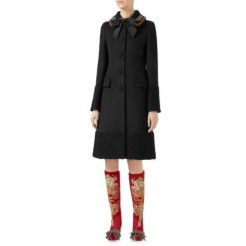 GUCCI Mink Fur & Wool A-Line Coat