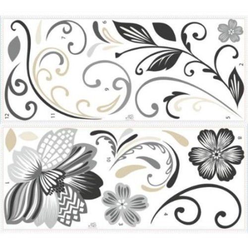 York Wallcoverings RMK2783GM Black and White Flower Scroll Peel and Stick Giant
