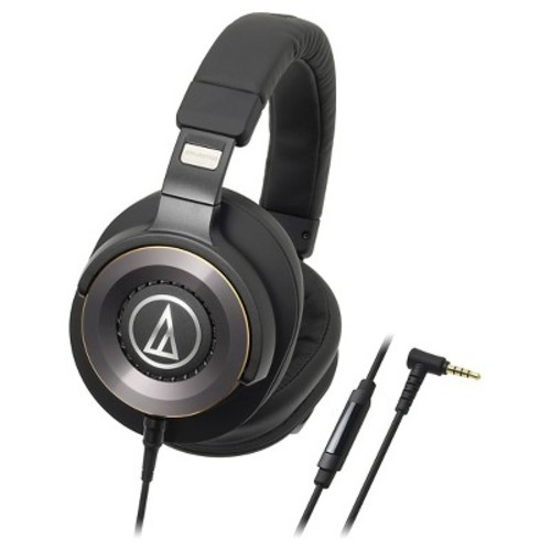 Audio Technica Solid Bass Over-Ear Headphones with In-line Mic & Control - Black