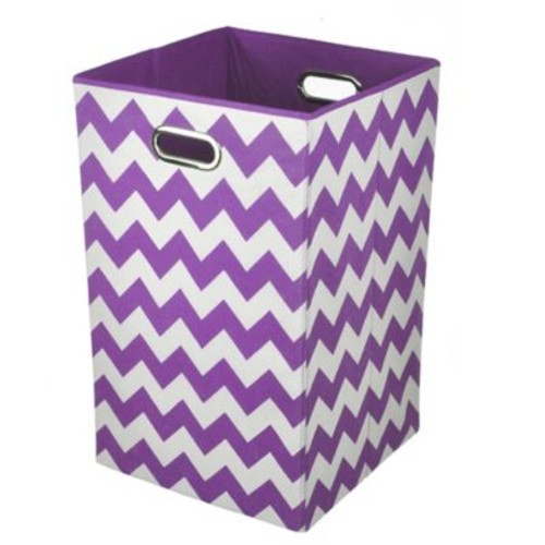 Modern Littles Chevron Folding Laundry Basket in Color Pop Purple