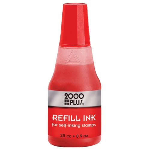 2000 PLUS Self-Inking Stamp Re-Ink Fluid, 1 Oz., Red