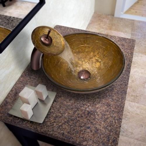 VIGO Rectangular Russet Glass Vessel Sink and Waterfall Faucet Set in Brushed Nickel