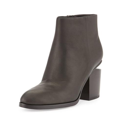 ALEXANDER WANG Gabi Tilt-Heel Leather Boot, Black/Rhodium