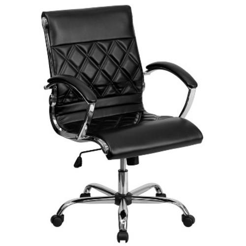 Executive Swivel Office Chair Black Leather/Chrome - Flash Furniture
