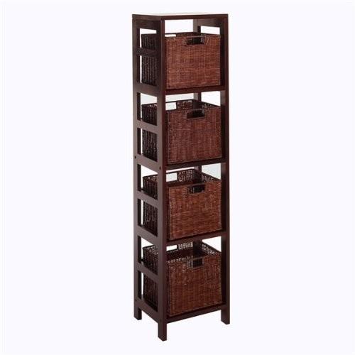 Winsome Wood Leo Wood 4 Tier Storage Shelf with 4 Small Rattan Baskets [Espresso, antique walnut baskets]