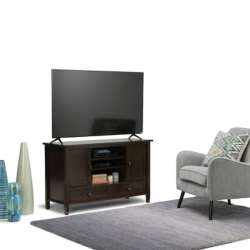 Simpli Home Warm Shaker TV Media Stand in Tobacco Brown (AXWSH004-TB)