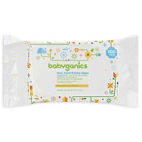 Babyganics 100-Count Fragrance-Free Face, Hand Baby Wipes