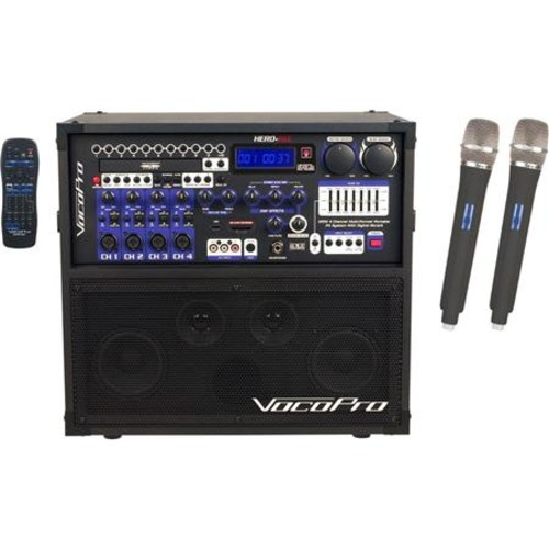 VocoPro HERO-REC 6 120W 4-Channel Multi-Format P.A. System with Digital Recorder HERO-REC 6 (UHF-28 S & T)