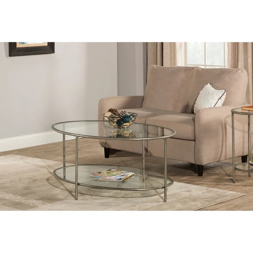 Hillsdale Furniture Corbin Coffee Table with Two Glass Shelves, Silver