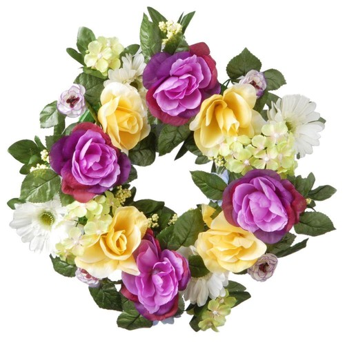 National Tree Company 18 in. Decorated Wreath with Daisies, Roses and Hydrangeas