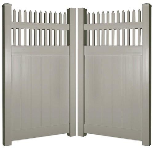 Weatherables Tremont 7.4 ft. W x 6 ft. H Khaki Vinyl Privacy Double Fence Gate