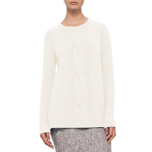 AKRIS PUNTO Cable-Knit Wool-Cashmere Sweater, Cream