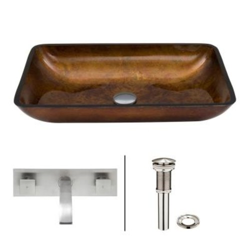 VIGO Rectangular Glass Vessel Sink in Russet with Wall-Mount Faucet Set in Brushed Nickel