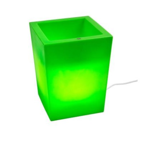 Filament Design Twist Production 17 in. Apple Green Outdoor Lighted Planter