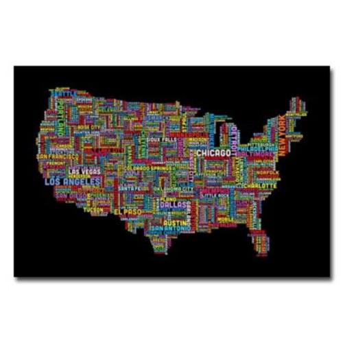 Trademark Fine Art Michael Tompsett 'US Cities Text Map II' Matted Art Black Frame 11x14 Inches