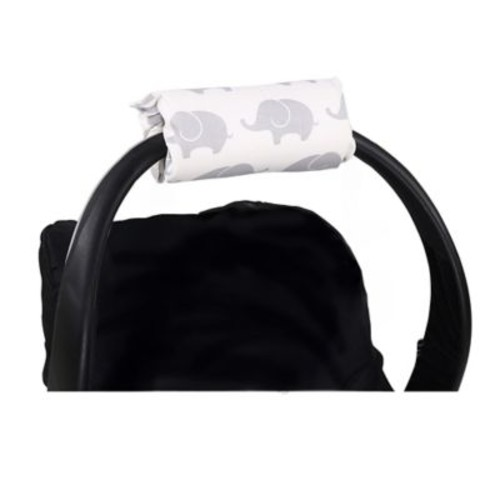 The Peanut Shell  Carrier Cushion and Car Seat Strap Cover Set in Grey Elephants
