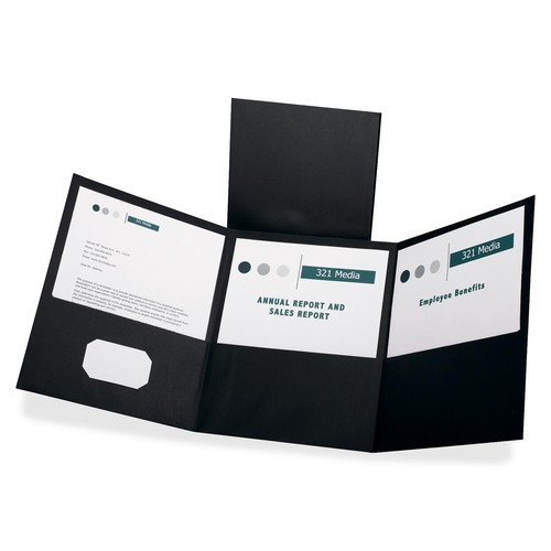 Oxford Tri-Fold Folder with 3 Pockets for 150 Letter-Size Sheets, Black (OXF59806)
