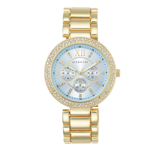 Attention Ladies Goldtone Bracelet with Blue Dial and Crystals Watch