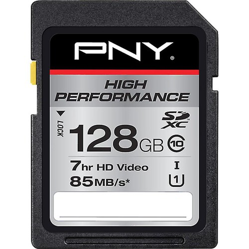 PNY High Performance SDXC Memory Card (128GB) Class 10, UHS Speed Class 1