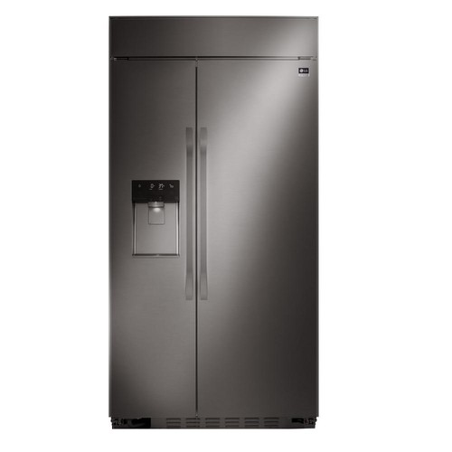 LG STUDIO 42 in. W 25.6 cu. ft. Built-In Side by Side Refrigerator in Black Stainless Steel