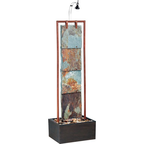 Kenroy Home Montpelier Floor Fountain, Natural Slate with Copper Finish