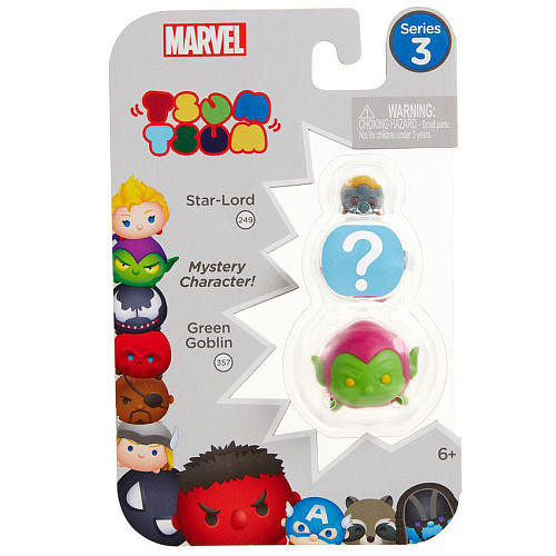Marvel Tsum Tsum Series 3 3 Pack Mini Figures - Star-Lord, Mystery Figure and Green Goblin