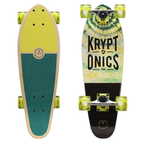 Kryptonics 24 inch Mini Cruiser Skateboard with Light-Up Wheels - Bright Daze