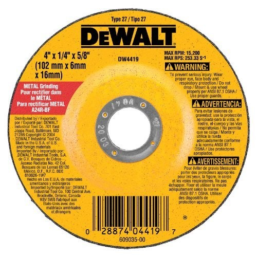 DEWALT DW4419 ral Purpose Metal Grinding Wheel, 4 X 1/4-Inch