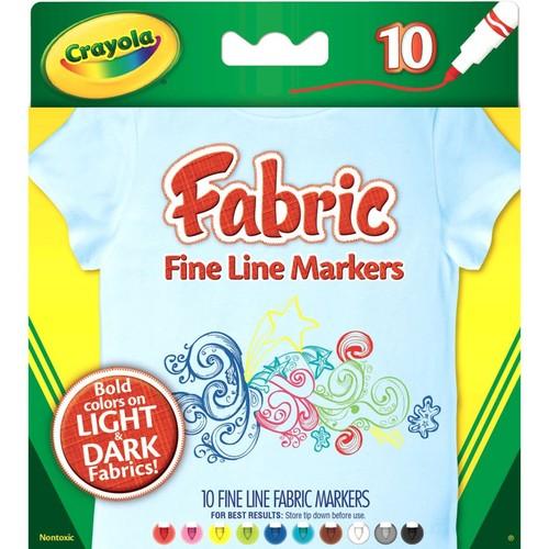 Crayola Fine Line Fabric Markers, 10/Box