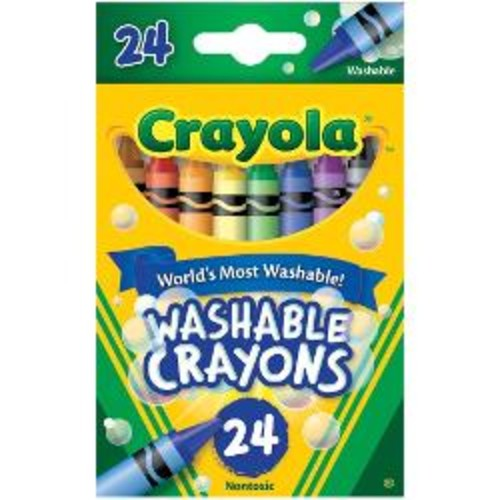 Crayola Washable Crayons, Assorted Colors, Pack Of 24