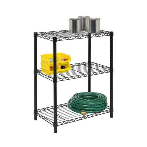 Honey-Can-Do 3-Tier Black Steel Urban Adjustable Shelving Unit