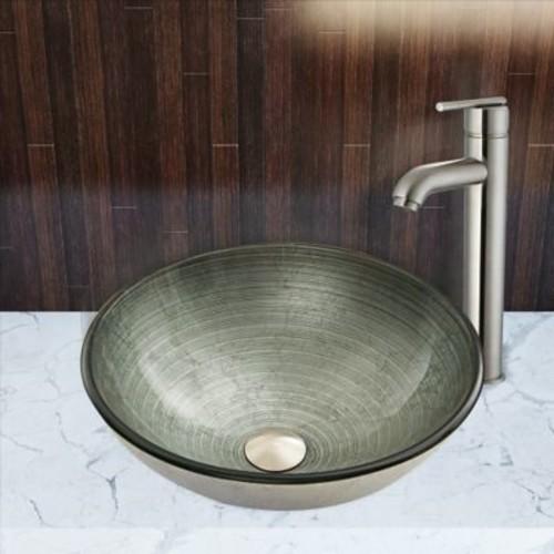 Vigo Simply Silver Glass Circular Vessel Bathroom Sink