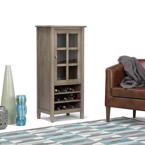 Simpli Home Warm Shaker 12-Bottle Wood High Storage Wine Rack
