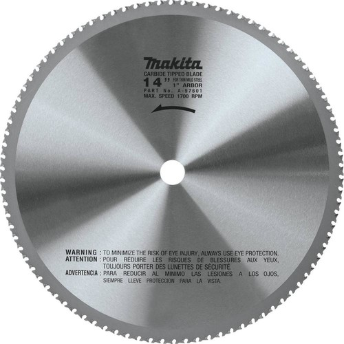 Makita 14 in. (90T) Carbide-Tipped Metal Cutting Blade Ferrous Metal - Thin Gauge