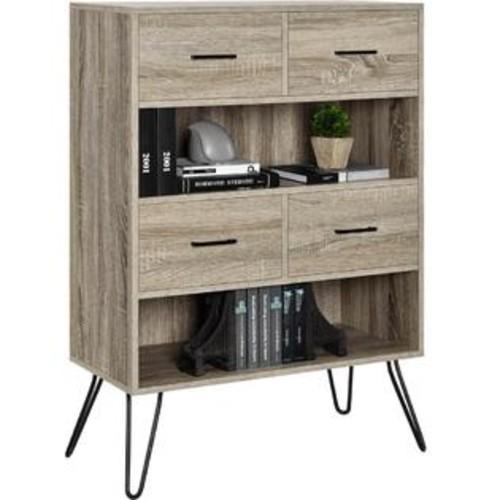 Altra Furniture Bookcase with Bins in Sonoma Oak Finish
