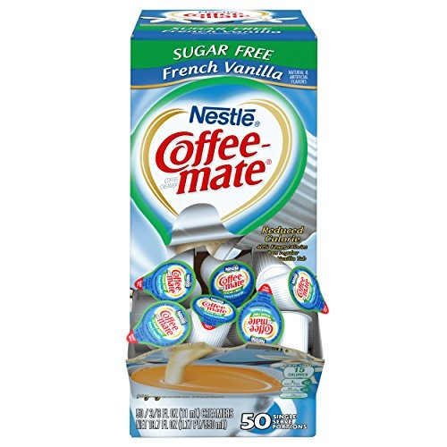NESTLE COFFEE-MATE Coffee Creamer, Sugar Free French Vanilla, 0.375oz liquid creamer singles, 50-count [Sugar Free French Vanilla, 50 Count]