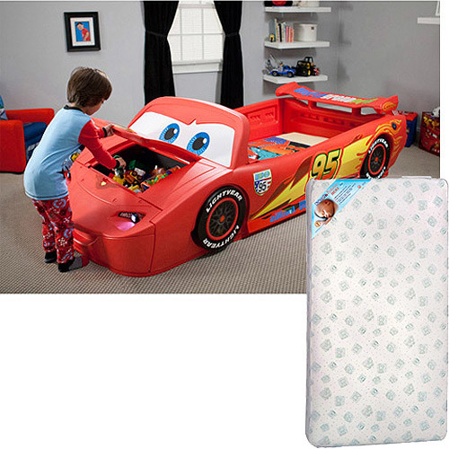 Disney Cars Lightening McQueen Convertible Toddler to Twin Bed and Mattress with Lights and Toy Box Bundle