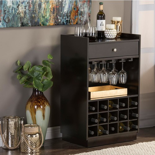 Baxton Studio Oscar Contemporary Dark Brown Wood Finish Wine Cabinet