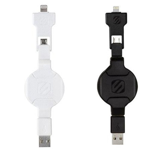 3' SmartSTRIKE Pro Retractable Charge/Sync Cable for Lightning and Micro-USB (White)