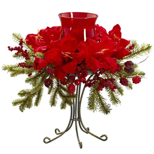 Nearly Natural 15.5 in. H Red Amaryllis Candelabrum
