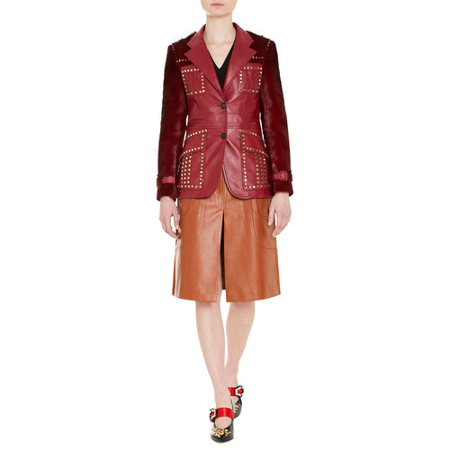 PRADA Studded Shearling-Trimmed Leather Blazer, Red