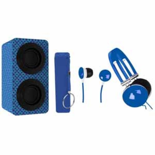 Naxa Portable Bluetooth Stereo Speakers Entertainment Pack - Blue