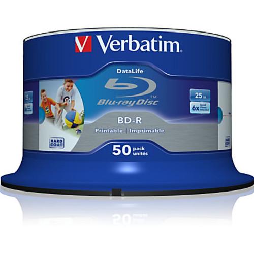 Verbatim BD-R 25GB 6X Shiny Silver Silk Screen Printable, Hub Printable - 50pk Spindle