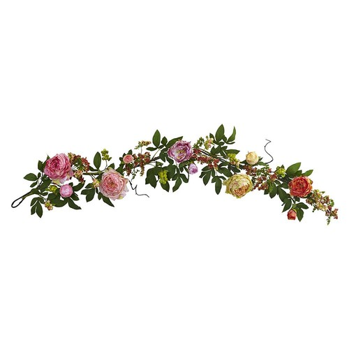 Nearly Natural Mixed Peony and Berry Garland Silk Plant