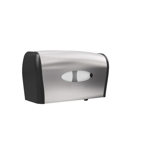 LoCor Side-By-Side Wall-Mount Bath Tissue Dispenser, Stainless