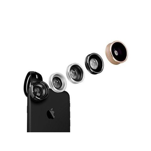 MOMAX 5 in 1 Phone Camera Lens Kit, Universal Clip-On Cell Phone Lens Kit Including 180 degree Fisheye+120 degree Wide Angle+15x Macro+CPL Filter+2.5X Telephoto Lens For Most Phone (5 in 1 Assorted)
