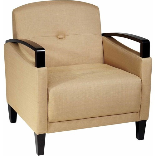 Main Street Woven Wheat Chair with Interlace Weave Fabric and Espresso Finish Wood Arms